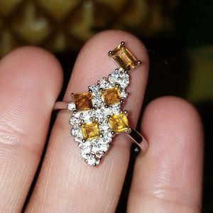 Jewelry - Unique Designed Genuine Sapphire & Citrine Ring